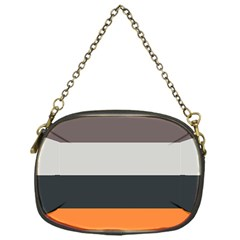 Orange Sand Charcoal Stripes Pattern Striped Elegant Chain Purses (one Side)