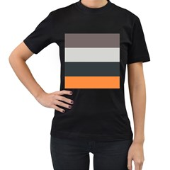 Orange Sand Charcoal Stripes Pattern Striped Elegant Women s T Shirt (black)