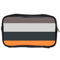 Orange Sand Charcoal Stripes Pattern Striped Elegant Toiletries Bags