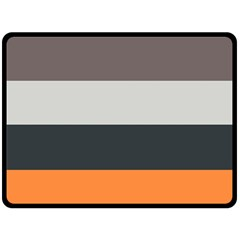 Orange Sand Charcoal Stripes Pattern Striped Elegant Fleece Blanket (large)