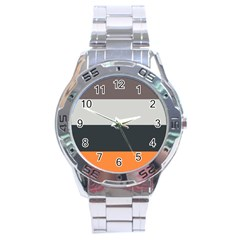 Orange Sand Charcoal Stripes Pattern Striped Elegant Stainless Steel Analogue Watch