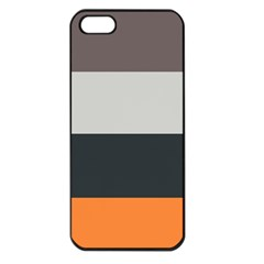 Orange Sand Charcoal Stripes Pattern Striped Elegant Apple Iphone 5 Seamless Case (black)