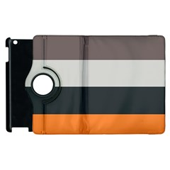 Orange Sand Charcoal Stripes Pattern Striped Elegant Apple Ipad 3/4 Flip 360 Case