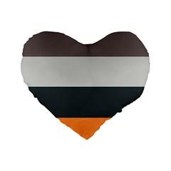 Orange Sand Charcoal Stripes Pattern Striped Elegant Standard 16  Premium Heart Shape Cushions