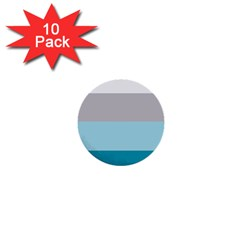 Blue Gray Striped Pattern Horizontal Stripes 1  Mini Buttons (10 Pack)