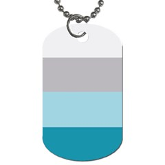 Blue Gray Striped Pattern Horizontal Stripes Dog Tag (one Side)