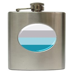 Blue Gray Striped Pattern Horizontal Stripes Hip Flask (6 Oz)