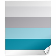 Blue Gray Striped Pattern Horizontal Stripes Canvas 8  X 10