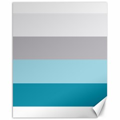 Blue Gray Striped Pattern Horizontal Stripes Canvas 16  X 20   by yoursparklingshop