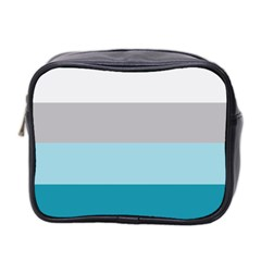 Blue Gray Striped Pattern Horizontal Stripes Mini Toiletries Bag 2 Side