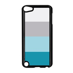 Blue Gray Striped Pattern Horizontal Stripes Apple Ipod Touch 5 Case (black) by yoursparklingshop