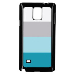 Blue Gray Striped Pattern Horizontal Stripes Samsung Galaxy Note 4 Case (black)