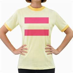 Horizontal Pink White Stripe Pattern Striped Women s Fitted Ringer T Shirts