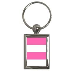Horizontal Pink White Stripe Pattern Striped Key Chains (rectangle)