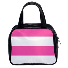Horizontal Pink White Stripe Pattern Striped Classic Handbags (2 Sides)