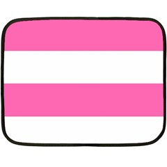 Horizontal Pink White Stripe Pattern Striped Double Sided Fleece Blanket (mini)  by yoursparklingshop