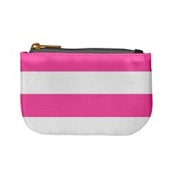 Horizontal Pink White Stripe Pattern Striped Mini Coin Purses
