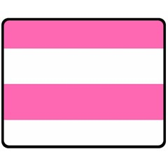 Horizontal Pink White Stripe Pattern Striped Fleece Blanket (medium)