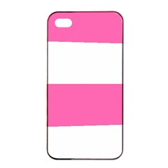 Horizontal Pink White Stripe Pattern Striped Apple Iphone 4/4s Seamless Case (black)