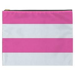 Horizontal Pink White Stripe Pattern Striped Cosmetic Bag (xxxl)