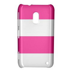 Horizontal Pink White Stripe Pattern Striped Nokia Lumia 620
