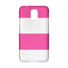 Horizontal Pink White Stripe Pattern Striped Samsung Galaxy S5 Hardshell Case