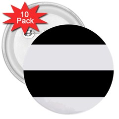 Black And White Striped Pattern Stripes Horizontal 3  Buttons (10 Pack)
