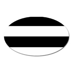 Black And White Striped Pattern Stripes Horizontal Oval Magnet