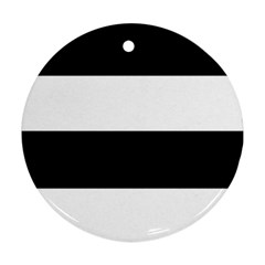 Black And White Striped Pattern Stripes Horizontal Round Ornament (two Sides)