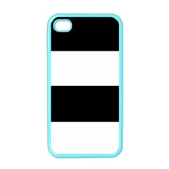 Black And White Striped Pattern Stripes Horizontal Apple Iphone 4 Case (color)