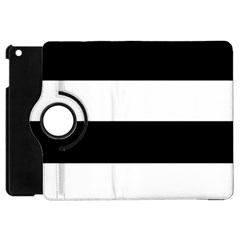 Black And White Striped Pattern Stripes Horizontal Apple Ipad Mini Flip 360 Case by yoursparklingshop
