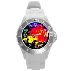 Colorfulpaintsptter Round Plastic Sport Watch (l)
