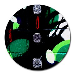 Graffiti On Green And Pink Designs Round Mousepads