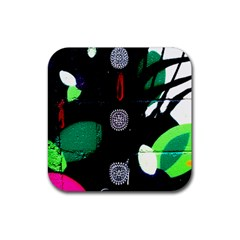 Graffiti On Green And Pink Designs Rubber Square Coaster (4 Pack)