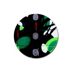 Graffiti On Green And Pink Designs Rubber Coaster (round)