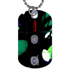 Graffiti On Green And Pink Designs Dog Tag (one Side)