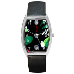 Graffiti On Green And Pink Designs Barrel Style Metal Watch