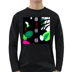 Graffiti On Green And Pink Designs Long Sleeve Dark T Shirts