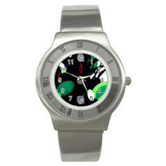 Graffiti On Green And Pink Designs Stainless Steel Watch