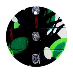 Graffiti On Green And Pink Designs Round Ornament (two Sides)