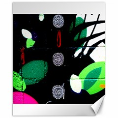 Graffiti On Green And Pink Designs Canvas 11  X 14