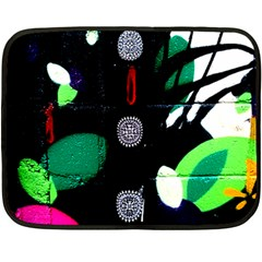 Graffiti On Green And Pink Designs Double Sided Fleece Blanket (mini)