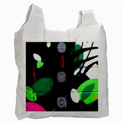 Graffiti On Green And Pink Designs Recycle Bag (one Side)
