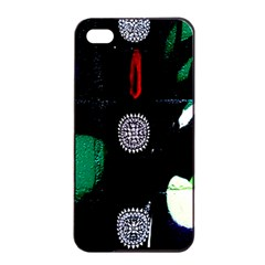 Graffiti On Green And Pink Designs Apple Iphone 4/4s Seamless Case (black)