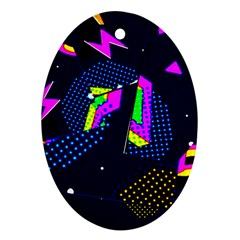 Background Designs Cool Zig Zags Oval Ornament (two Sides)