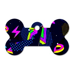 Background Designs Cool Zig Zags Dog Tag Bone (one Side)