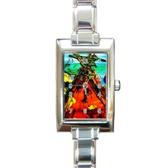 Camping 5 Rectangle Italian Charm Watch