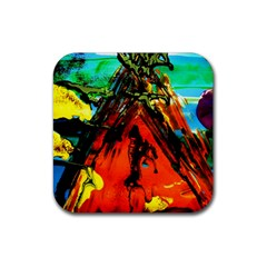 Camping 5 Rubber Square Coaster (4 Pack)