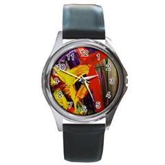 Fish And Bread1/2 Round Metal Watch
