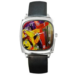 Fish And Bread1/2 Square Metal Watch